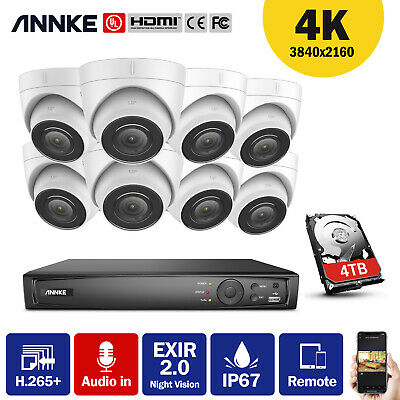 ANNKE H.265+8CH 4K Video 8MP NVR Dome CCTV IP Camera Network IP67 Night POE Kit • 445.69£