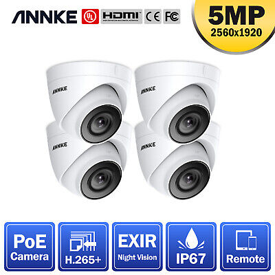 ANNKE CCTV 4pcs 5MP Dome Home Surveillance IP Camera Only For POE System IP67 UK • 149.69£