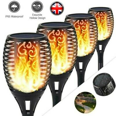 4PCS 96LED Flame Solar Torch Light Waterproof Flickering Path Garden Lamp UK • 9.19£