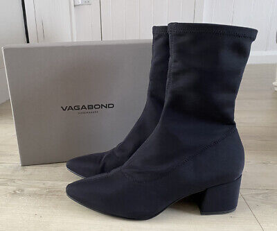 Vagabond MYA 7 Black Stretch Sock Ankle Boots Pointed Toe Block Heel • 38£
