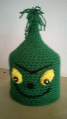 Christmas Grinch Toilet Roll Cover Hand Crochet Acrylic Wool • 4.99£