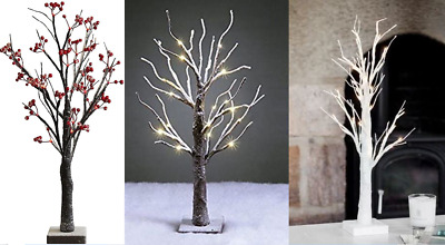 Table Top Xmas Twig Tree (60cm 24 LED) Lit Battery Decoration Berry Brown White • 14.95£