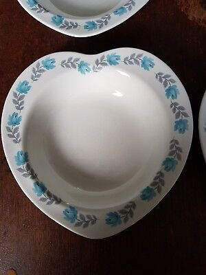 5 X Barratts Blue Rose Delphatic China Heart Shaped Cereal Soup Bowls  • 15£
