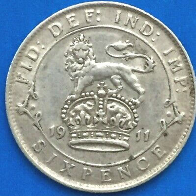 Gb 1914 King George V. Sixpence Coin, In Nice Very Fine Grade.mintage 22,714,602 • 3.75£