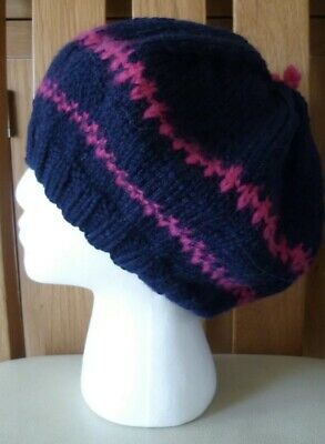 Ladies Hand Knitted Navy Blue And Pink Tam O'Shanter  • 8£