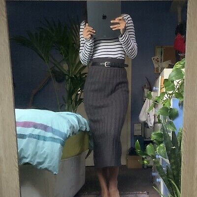 Primark Grey Knitted Over-The-Knee Skirt Size 8 • 6£