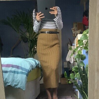 Primark Mustard/Brown Knitted Over-The-Knee Skirt Size 8 • 6£