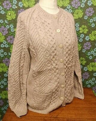 Vintage Pale Grey Aran/Cable Hand Knitted Wool Cardigan Sz M • 28.99£