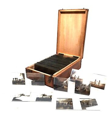 Antique Wooden Stereoscope / Stereo Viewer Card Box & Glass Slides Job Lot  • 129£