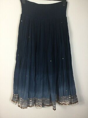 Monsoon Blue Ombre Effect Cotton Sequined Maxi Skirt M L Gipsy Boho Hippie • 20£