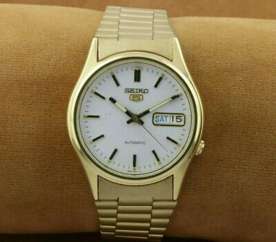 $ CDN53.20 • Buy Vintage Golden Seiko 5 7s26a Golden White Automatic Japan Men's Wrist Watch