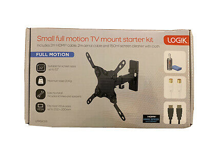 Logik Small Full Motion TV Wall Mount Starter Kit With HDMI Cable & Aerial Cable • 14.99£