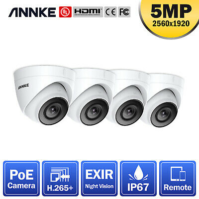ANNKE CCTV 4pcs 5MP Dome Home Surveillance IP Camera Only For POE System IP67 UK • 159.69£