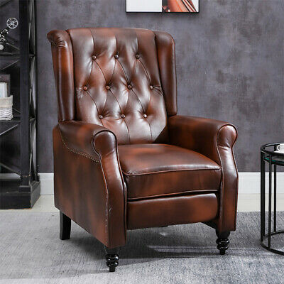 £235.99 • Buy Luxury Retro Brown PU Leather Recliner Chairs Wing Back Occasional Armchair Sofa