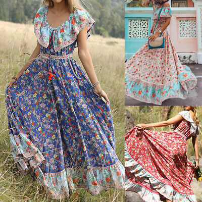 AU24.99 • Buy Women Boho Bohemian Long Maxi Flare A-line U-neck Party Beach Floral Sun Dress