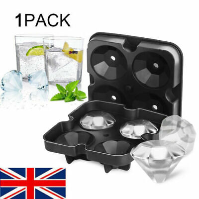 NEW Ball Ice Cube Maker Tray Big Rubber Mold Sphere Whiskey DIY Diamond Mould UK • 6.27£