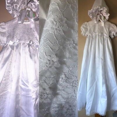 BNWT Christening Gown Traditional Bonnet Baptism White Lace Long 0-6 Baby Bows • 24.99£