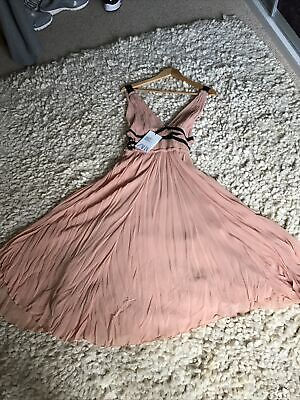Zara Maxi Dress Size Xs. Grecian Style Lined Peach Crepe.was 99 Euros • 29.90£