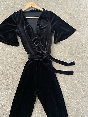New Look Soft Velvet Black Trouser JUMP SUIT All In One Cat Suit Size 8 Stretchy • 7.99£