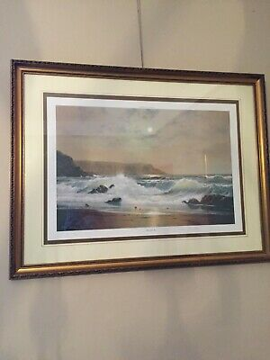 Moonlit Sea Painting By Peter Cosslett FRAMED Only 850 Copies With Paper Proof • 88£