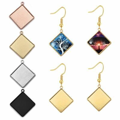 20mm Square Cabochon Base Settings Cameo Tray Bezel Charms Pendant Blank For DIY • 5.14£