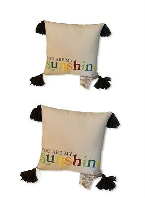 You Are My Sunshine Throw Pillows Gray Tassels White Yellow Check 2 Pack NWT • 10.58£