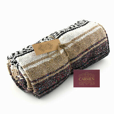 Mexican Falsa Blanket Fairtrade Falsa Throw Recycled Blanket Yoga Festivals Rug • 35£