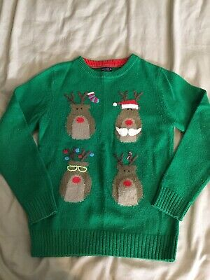 NEXT CHRISTMAS JUMPER, GREEN, RUDOLPH REINDEER, AGE 10 Years • 3.99£