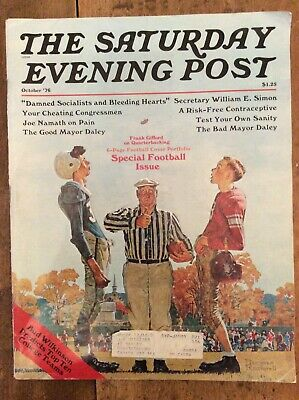 $ CDN10 • Buy Saturday Evening Post, October 1976, Special Football Issue, Norman Rockwell