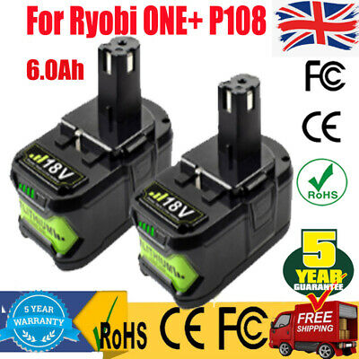 2 Pack 18Volt 6000mAh Lithium Battery For Ryobi ONE+ P107 P108 P109 Power Tools • 46.97£