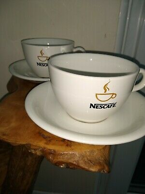 2 X Nescafe Cup And Saucer Set Rare Collectable   Advertising Coffee Logo • 19.99£