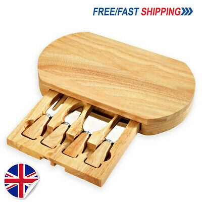 £14.62 • Buy Oval Wooden Cheese Board & 4 Piece Knife Set With Slide Out Drawer Cheese Knives