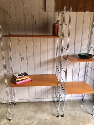 Teak Shelving Units Similar Style To String With Metal Supports • 180£