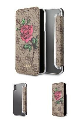 Genuine GUESS PU 4G Flower Desire Book Case With Card Slots For IPhone X • 19£