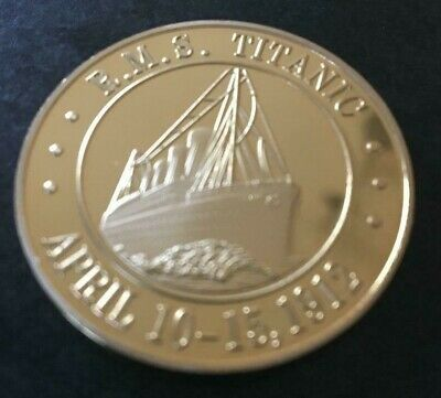 New Gold Plated Commemorative Coin RMS Titanic • 2.20£