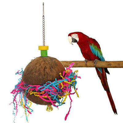 FJ- EE_ AM_ 1Pc Parrot Coconut Shell Bird Swing Bell Pull Ribbon Hanging Toy Par • 8.83£