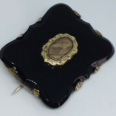 Victorian Mourning Brooch, Unmarked Gold And Black Hardstone • 59.99£