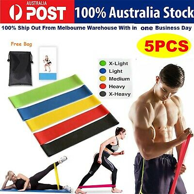 AU14.83 • Buy Set Of 5 Exercise Fitness Workout Band Gym Heavy Duty Resistance Yoga Bands Loop
