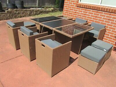 AU199.99 • Buy  Outdoor Furniture Wicker Rattan  Dining Setting,6 Chair,4 Stool With Cushion,