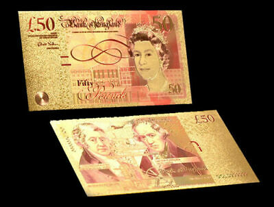 New 24 Carat Gold Leaf £50 Fifty Pound Note Collectable  • 2.25£