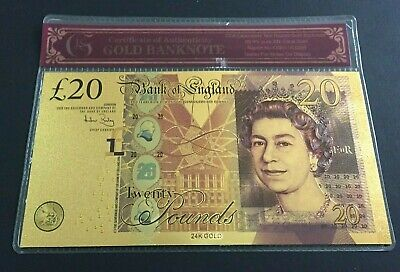 24 Carat Gold Leaf £20 Twenty Pound Note Collectable & COA Sleeve Certificate • 2.75£