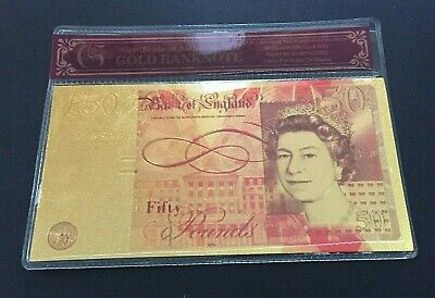 £3.25 • Buy New £50 Fifty Pound 24k Gold Leaf Novelty Note With COA. UK SELLER