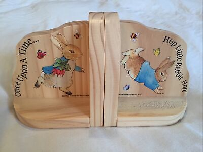 Wooden Peter Rabbit Book Ends - Baby, Toddler, Child, Kids - Great Condition • 1.20£