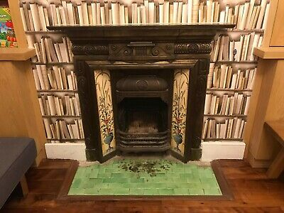 Victorian Style Cast Iron Tiled Fireplace Insert (with A Hairline Crack) • 150£