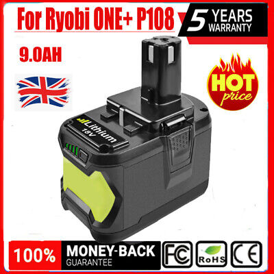 18V 9.0Ah Battery For Ryobi ONE+ P108 P107 18 Volts Cordless Drill Power Tools • 43.99£
