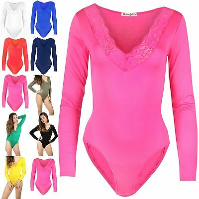 Womens Ladies Scallop Lace Trim Plunge V Neck Long Sleeve Leotard Bodysuit Top • 5.55£