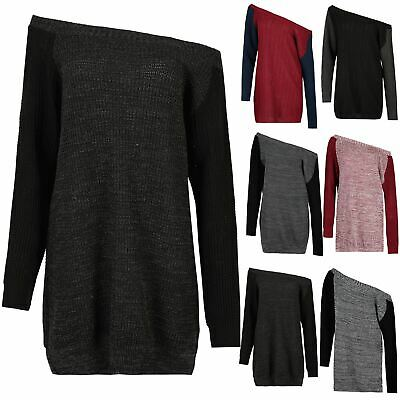 Ladies Womens Bardot Off The Shoulder Knit Chunky Contrast Sleeve Jumper Dresses • 4.99£