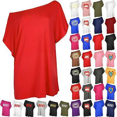Ladies Off The Shoulder Womens Batwing Sleeve Bardot Oversized Baggy T Shirt Top • 2.55£