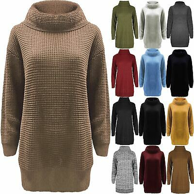 £9.55 • Buy Ladies Womens Casual Cowl Roll Neck Chunky Knitted Oversized Jumper Mini Dress