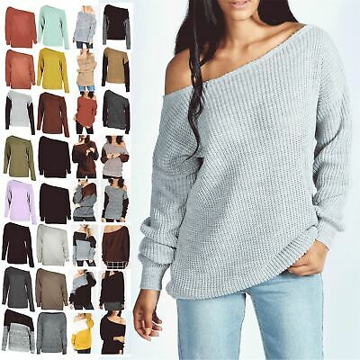Ladies Off The Shoulder Chunky Knitted Oversized Jumper Womens Baggy Sweater Top • 4.99£
